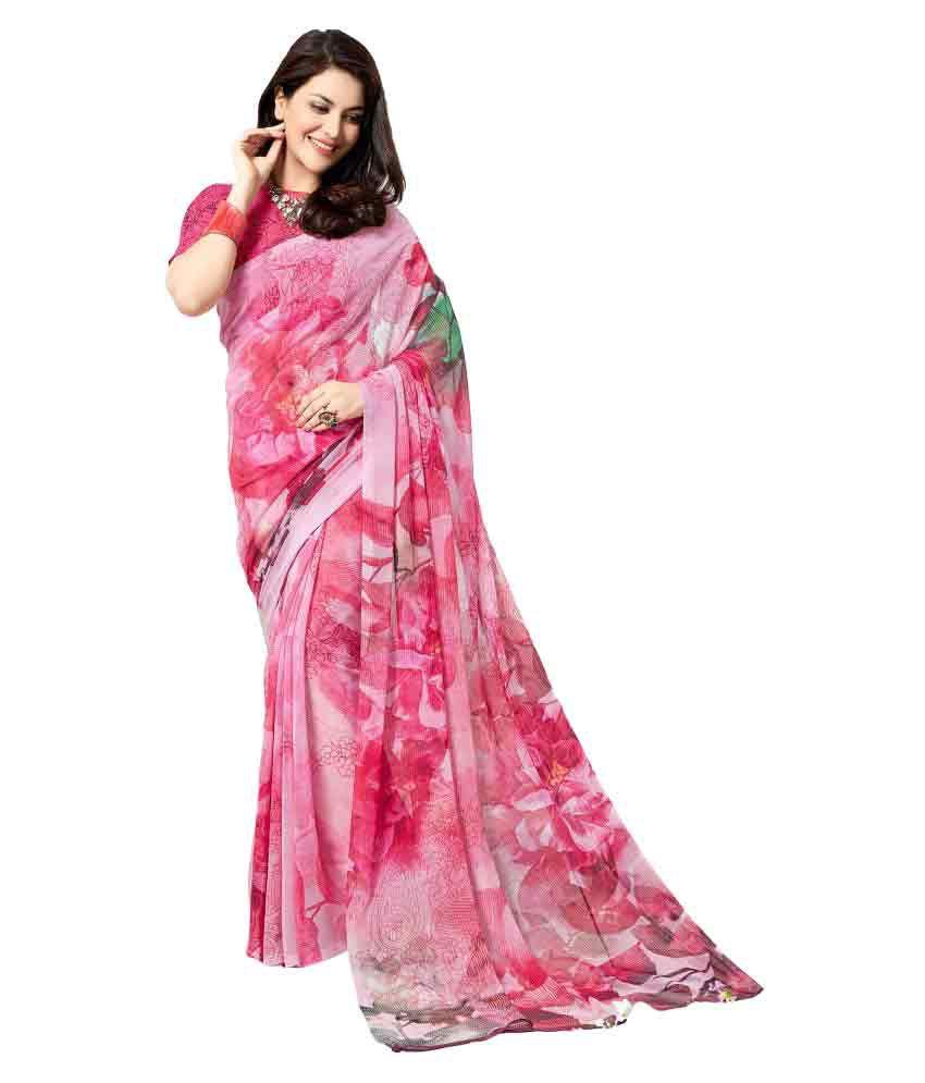 Roop Kashish Pink Georgette Saree