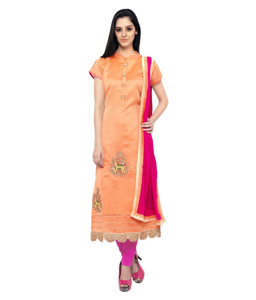 The Ethnic Chic Orange Chanderi Straight Stitched Suit