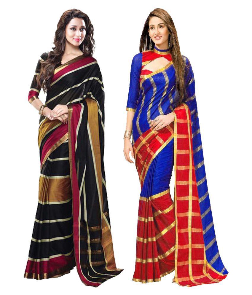 Dressy Multicoloured Chanderi Saree Combos
