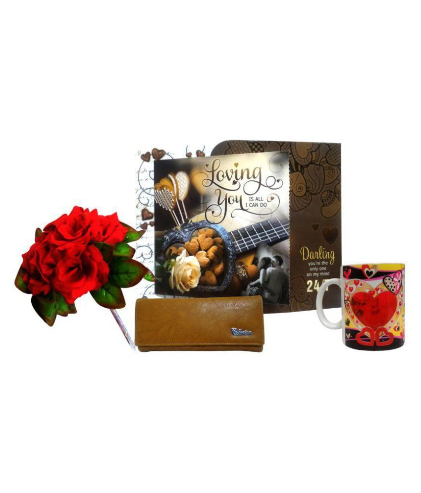 Saugat Traders Love Gift for Girls & Women Love Greeting Card, Womens Wallet, Love Coffee Mug & Bunch Of 5 Artificial Red Rose