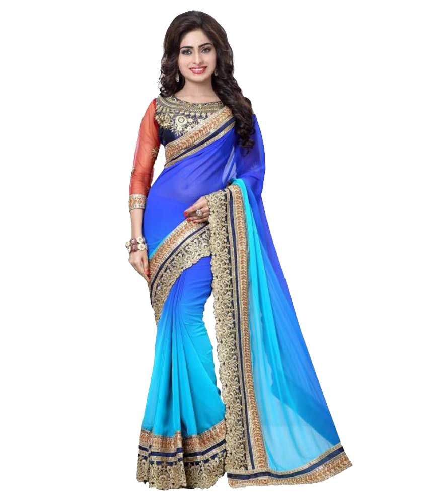 LF Designer Blue Georgette Saree