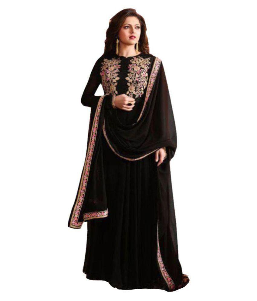 Surat Bazaar Black Bangalore Silk Dress Material