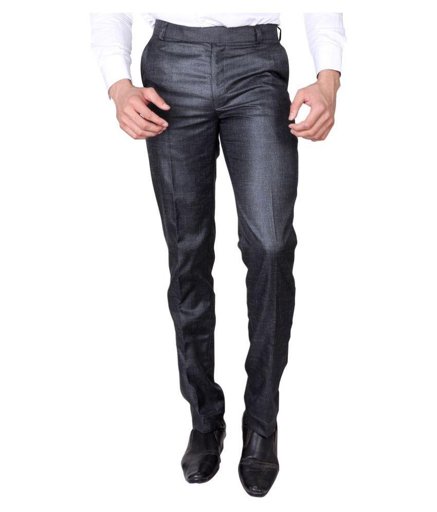 Villain Grey Slim Pleated Trousers