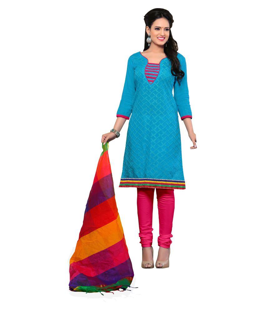 Latest Fancy Designer Blue Chanderi Dress Material