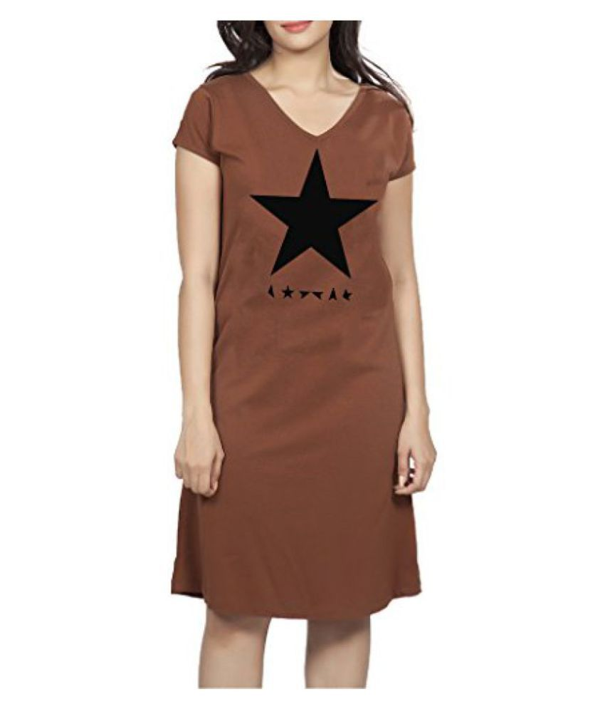 Clifton Womens Longtop Nightwear-Brown-Black Star