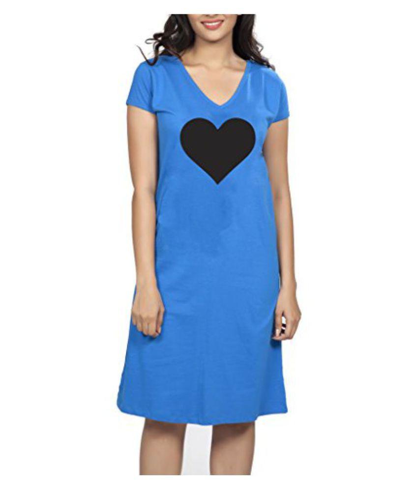 Clifton Womens Longtop Nightwear-Royal Blue-Heart