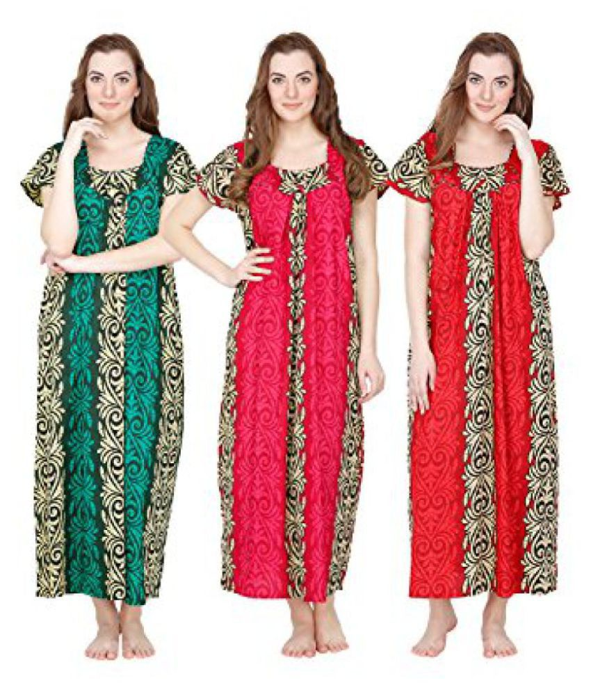 Secret Wish Womens Cotton Nighty - Set of 3 (Green, Pink, Red)