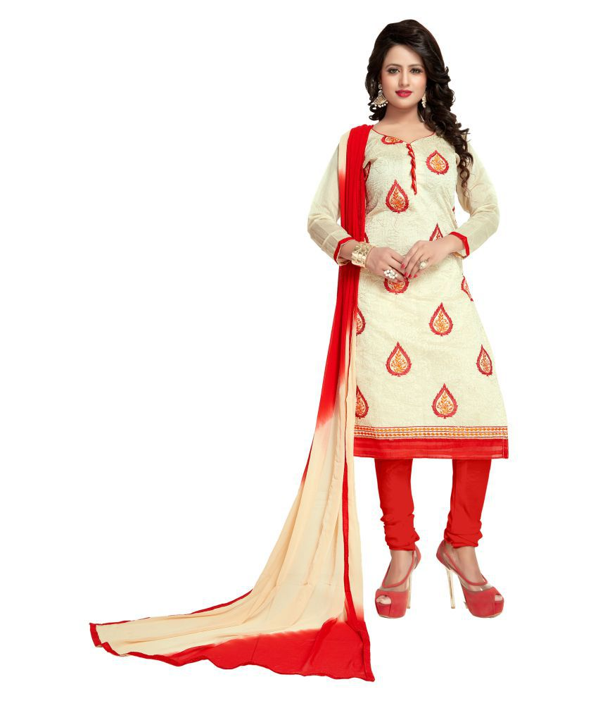Alina Creation Beige Chanderi Dress Material