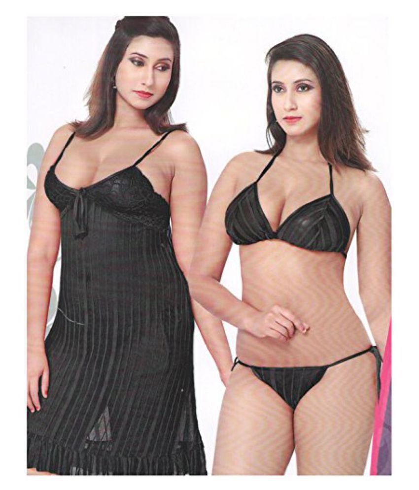 Buy Indiatrendzs Women s Nighty Baby Doll Black Sexy Wear Night Dress 3PC  Lingerie Set Online at Best Prices in India - Snapdeal acb097ba8