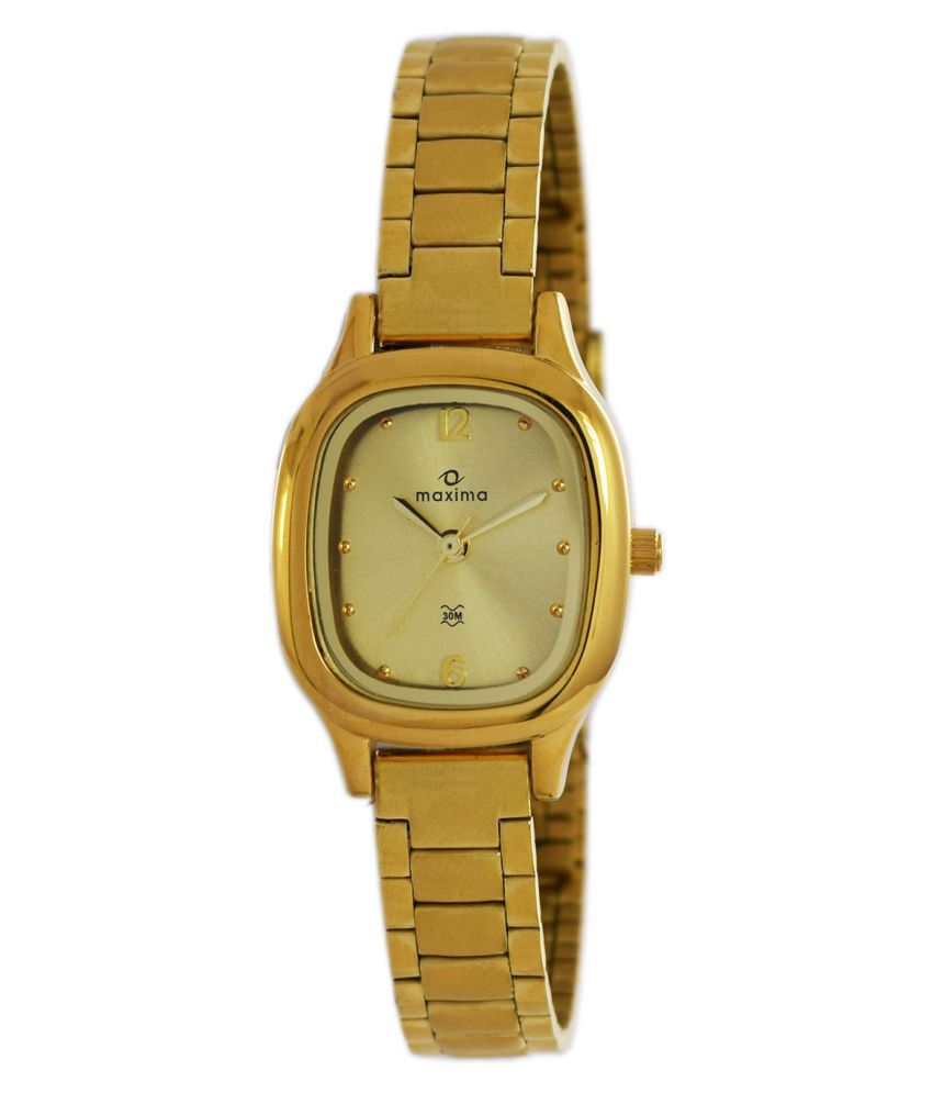 Maxima 40011CMLY Golden Analog Watch for Women