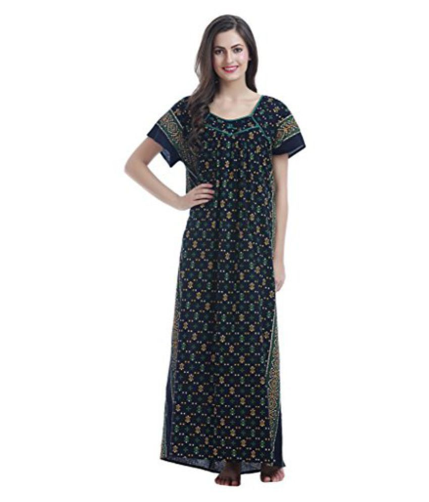 Miavii Women's Polka Dot Printed Full Length Cotton Nighty-Bust Size(44 to 46)-No Shrinkage & No Colour Bleeding