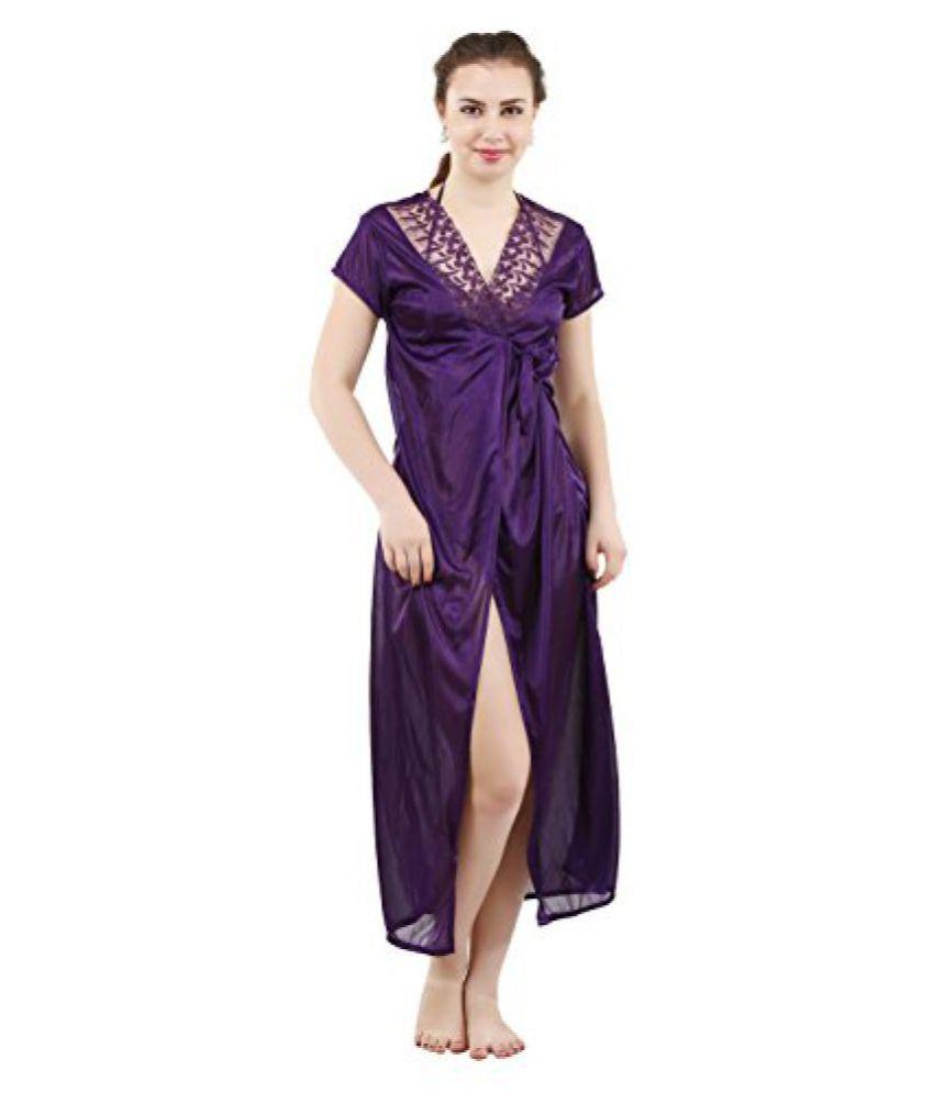 08489051bc4 Buy Romaisa Women s Satin Nightwear Set of 4 Pcs Nighty
