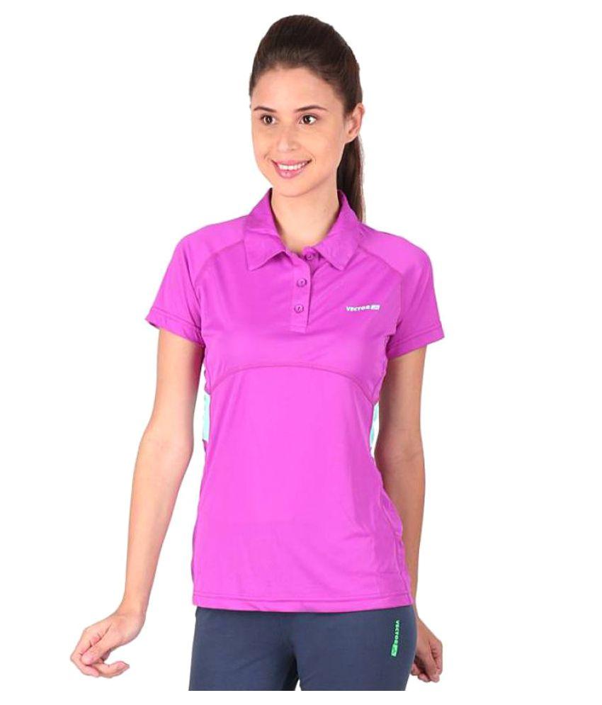 Vector X Solid Women's Polo Neck Purple T-Shirt