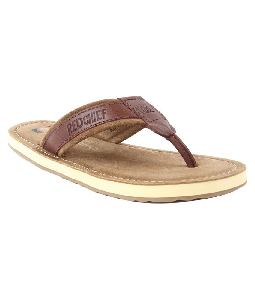 Red Chief Rust Leather Slippers Price