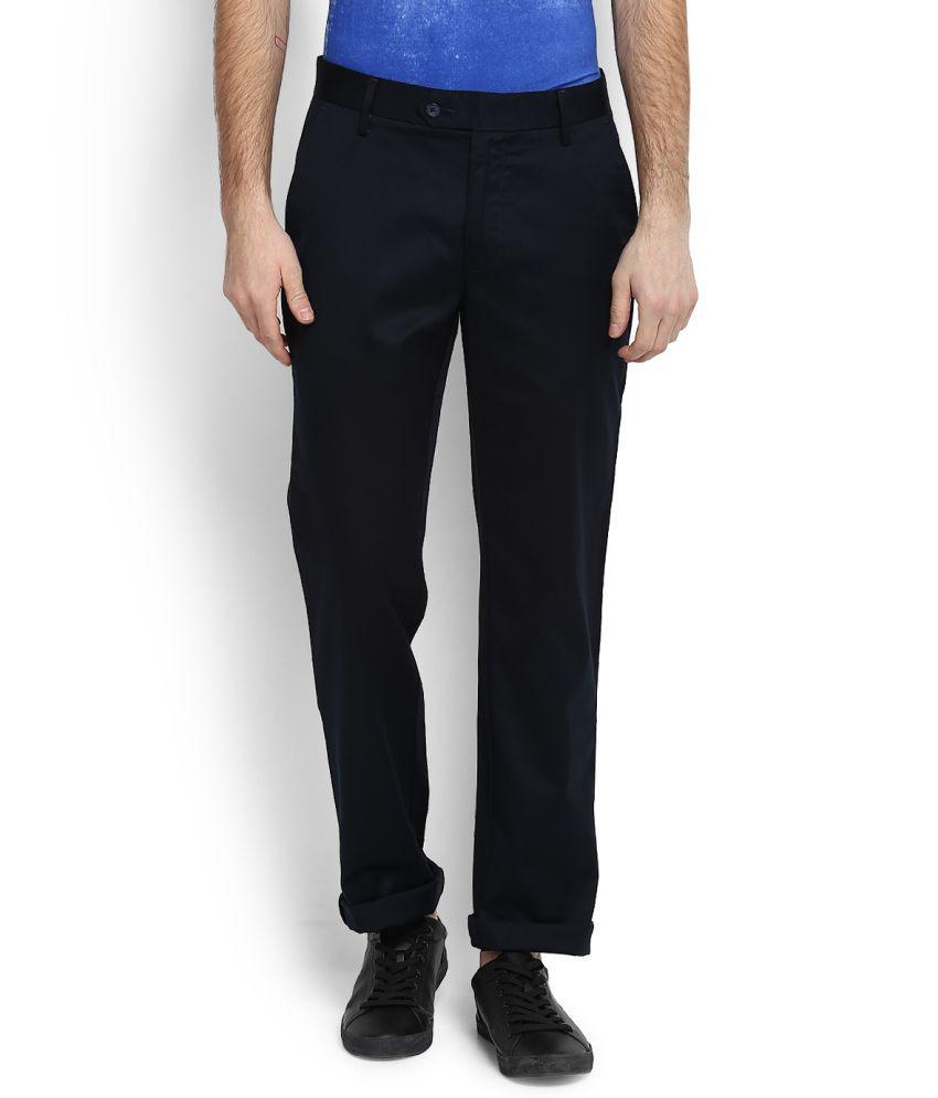 Peter England Blue Regular Flat Trousers