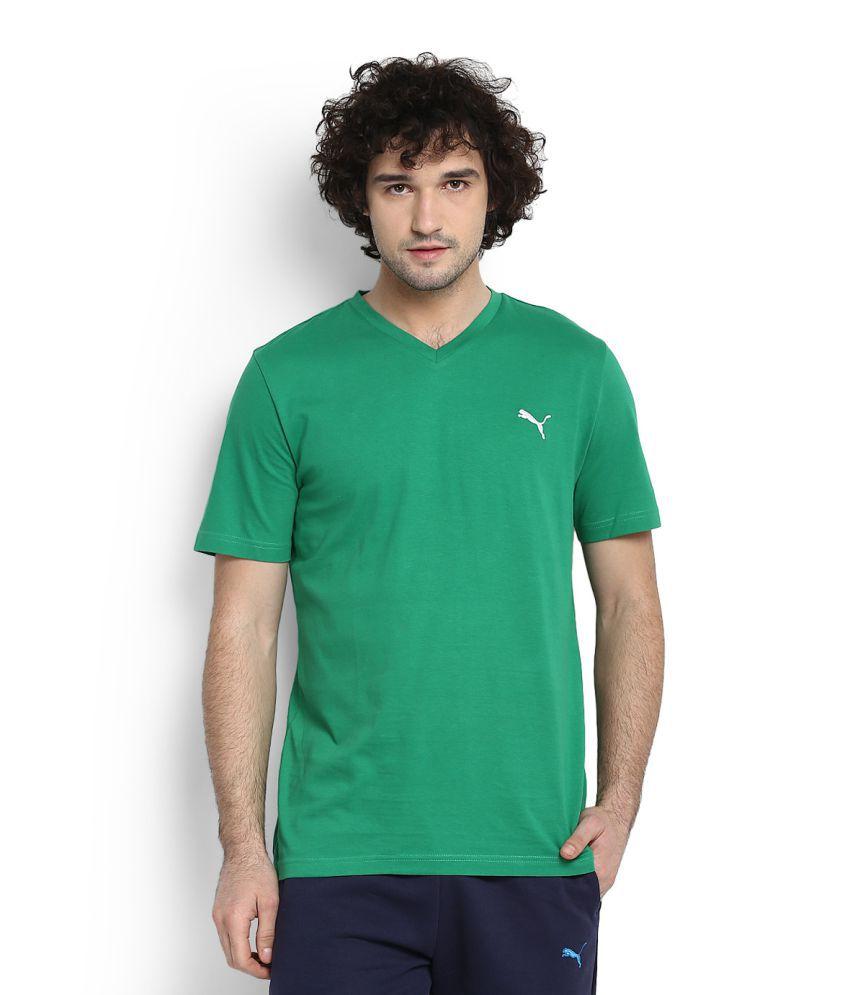 Puma Green V-Neck T-Shirt