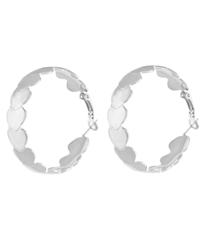OSF One Stop Fashion Silver Colour Round Shape Ear hoop for Girls and Womens