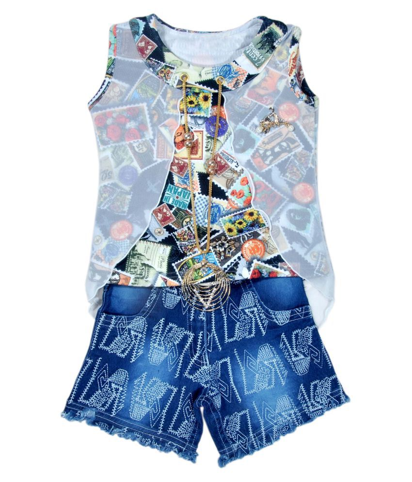 Heybaby Self Design Partywear Top & Denim Hot Pant For Girls - Buy ...