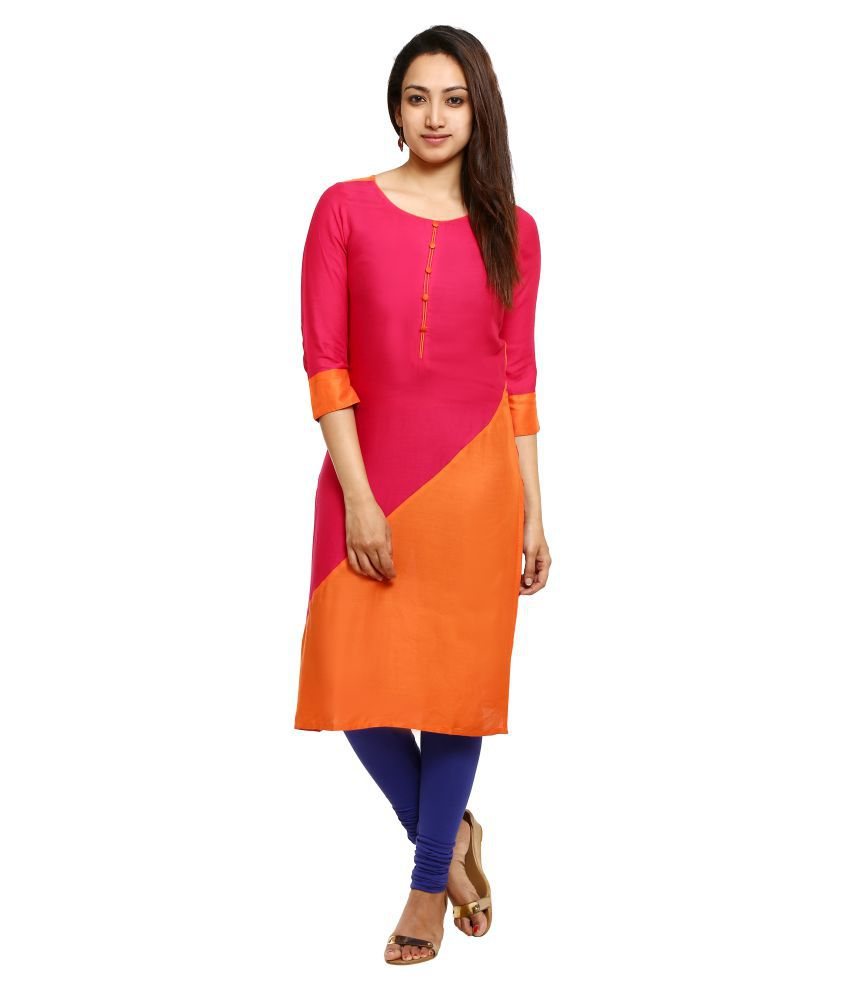 Aaboli Multicoloured Rayon Straight Kurti