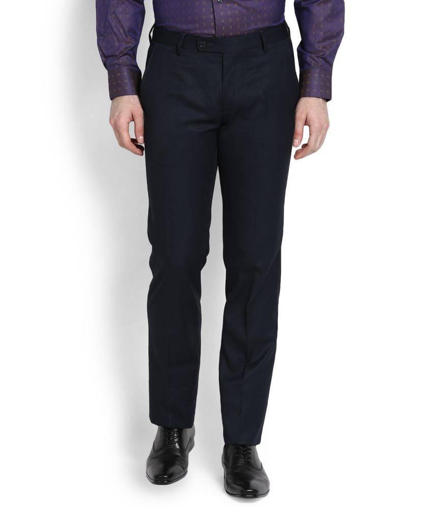 Arrow Navy Blue Slim Flat Trousers