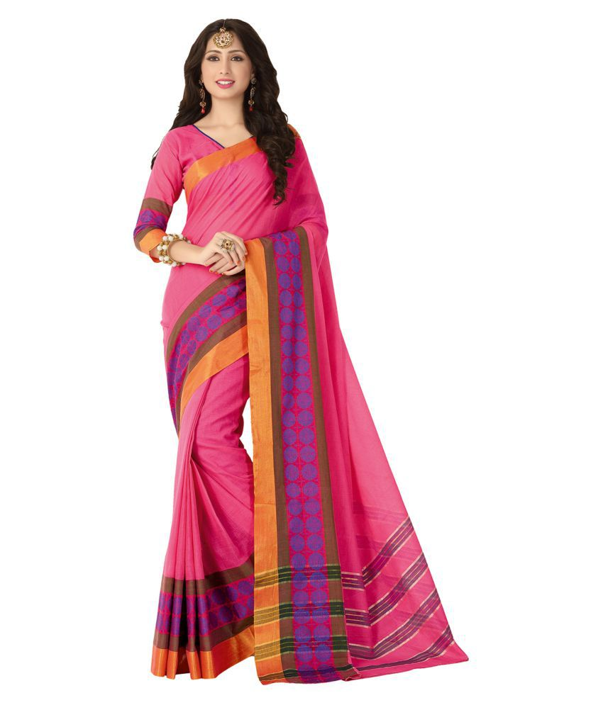 Aarti Apparels Pink Cotton Saree