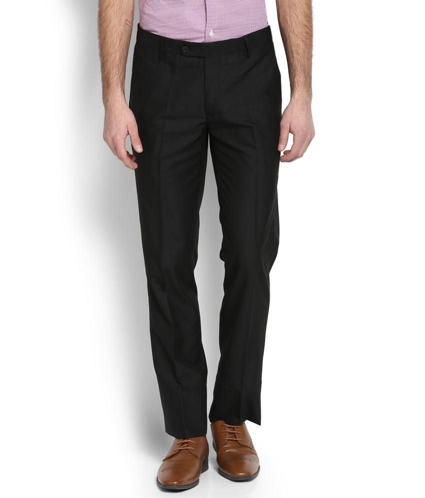 Arrow Black Slim Flat Trousers