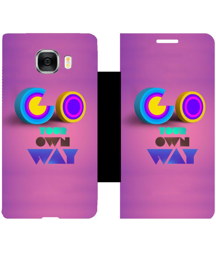 Samsung Galaxy C7 Flip Cover by Skintice - Purple