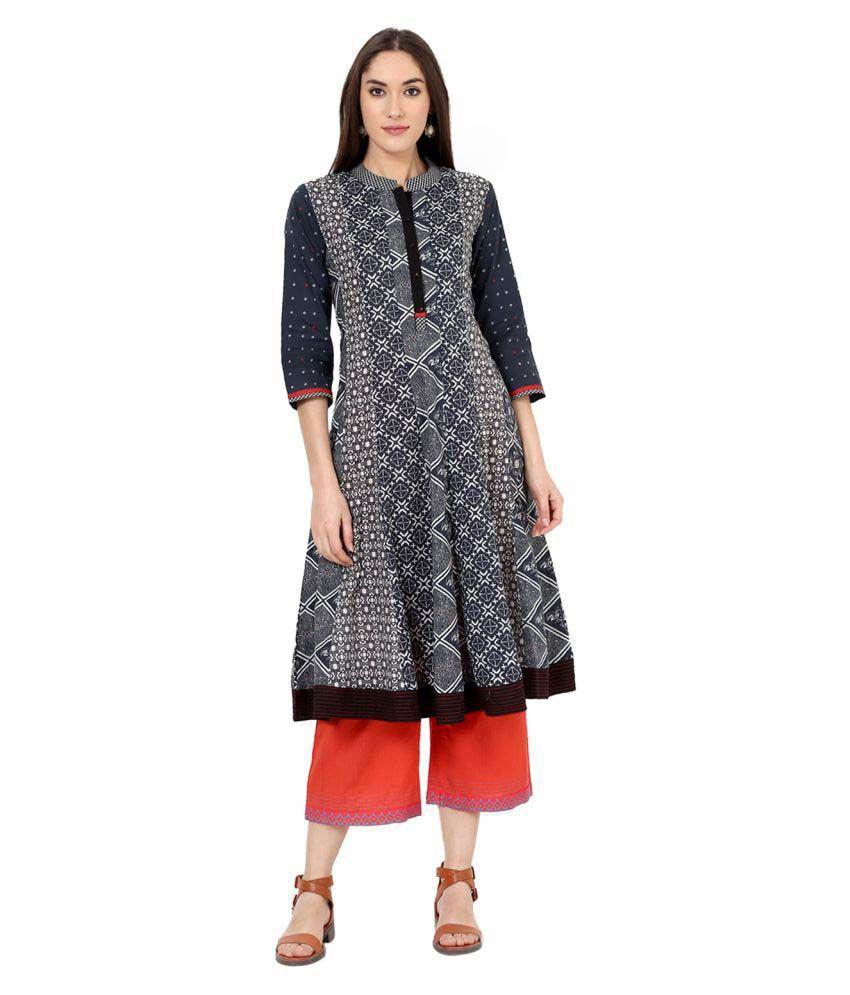 Rangriti Black Printed Cotton Kurta