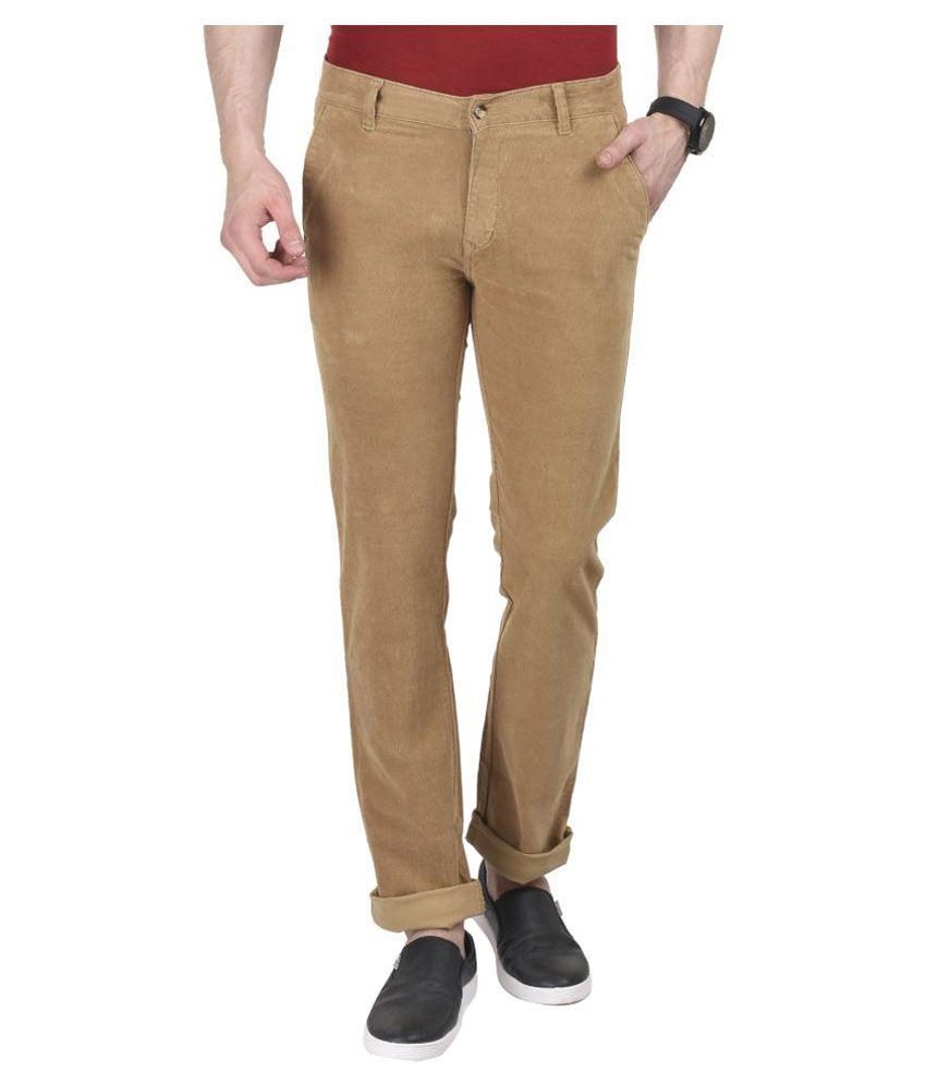 Ruace Beige Slim Flat Trousers