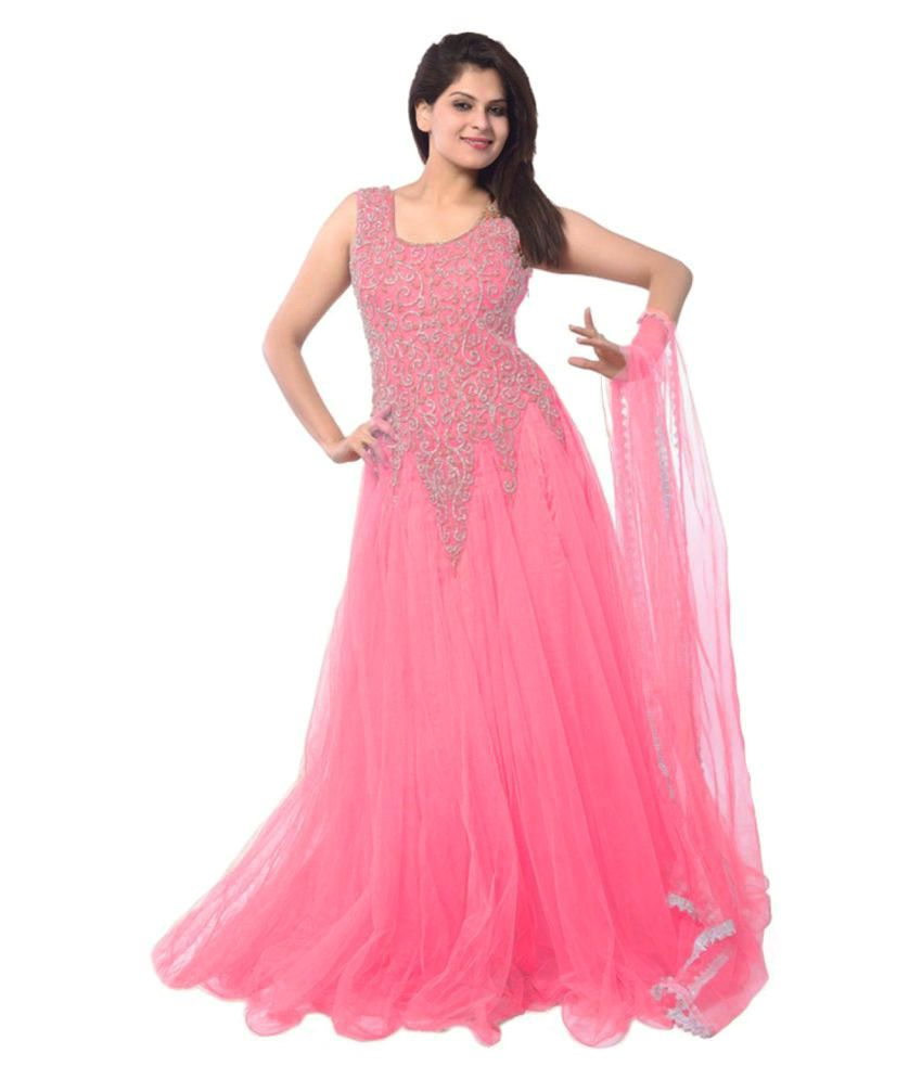 3c57f3406 Kuldevi Creation Pink Net Anarkali Gown Semi-Stitched Suit - Buy Kuldevi  Creation Pink Net Anarkali Gown Semi-Stitched Suit Online at Best Prices in  India ...