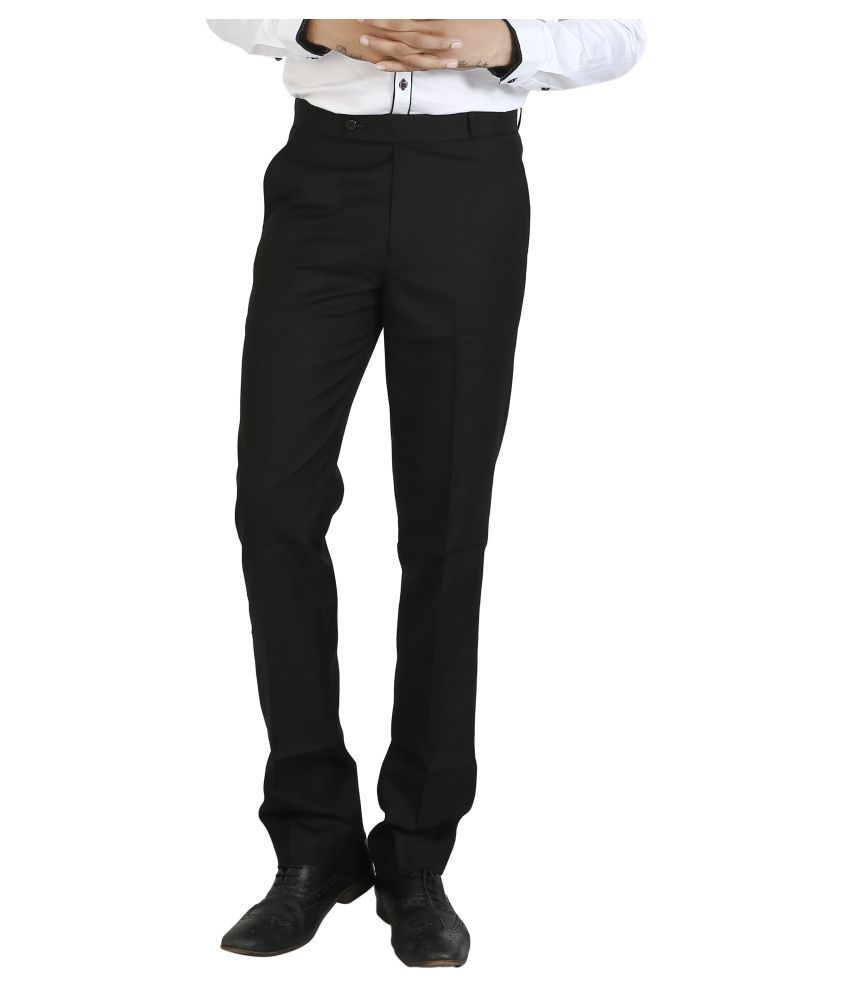 Basilio Black Slim Flat Trousers