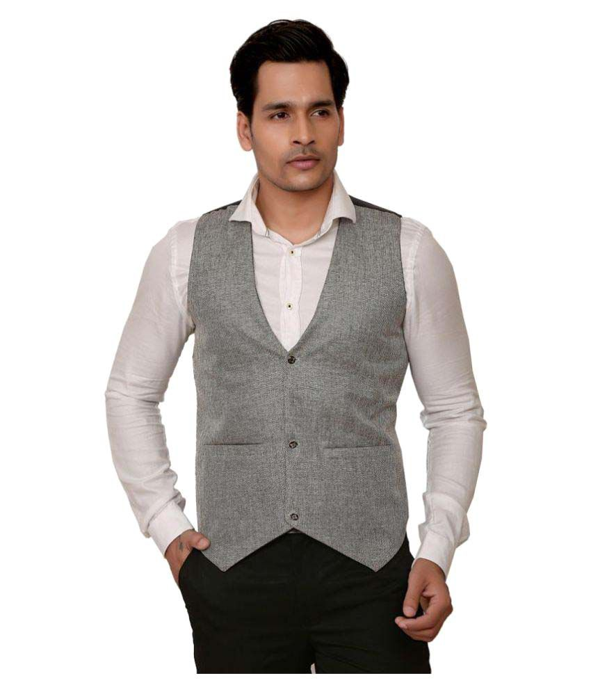 Trustedsnap Grey Solid Party Waistcoats