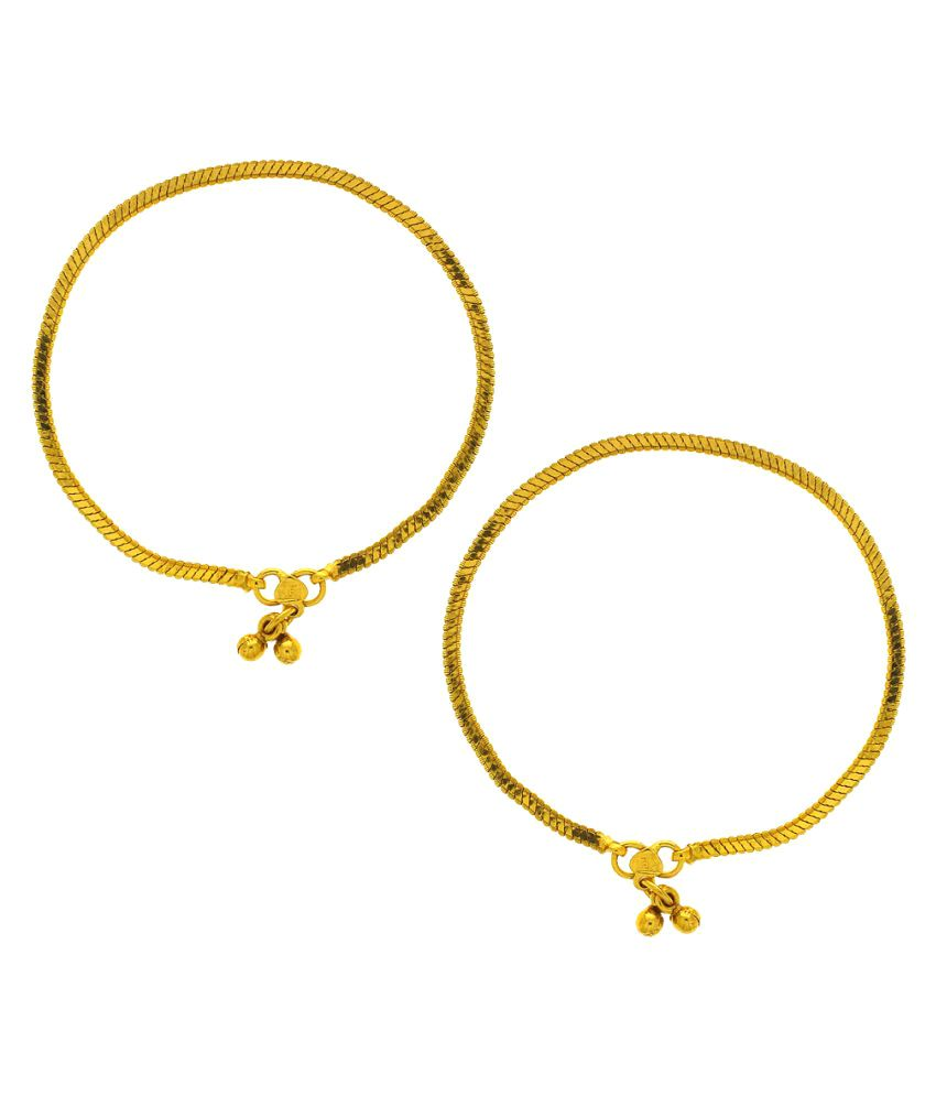 Anuradha Art Gold Finish Traditional Anklets for Women