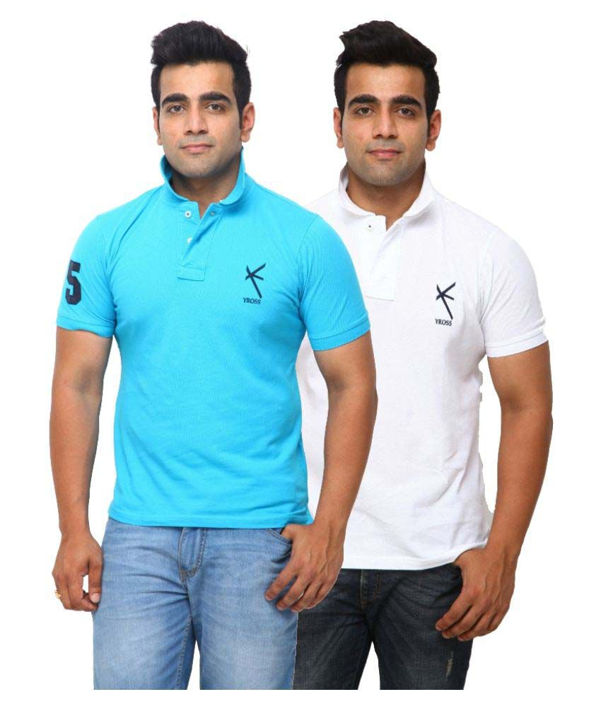 Yross Turquoise Cotton Polo T-shirt Pack of 2