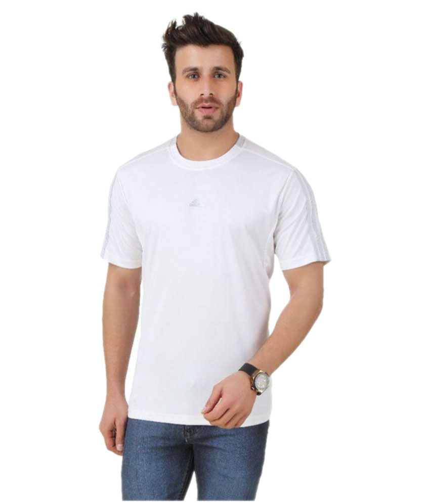 Adidas White Polyester T Shirt