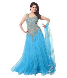 Kuldevi Creation Blue Net Anarkali Gown Semi-Stitched Suit