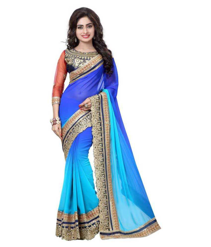 Varya Fashion Blue Georgette Saree