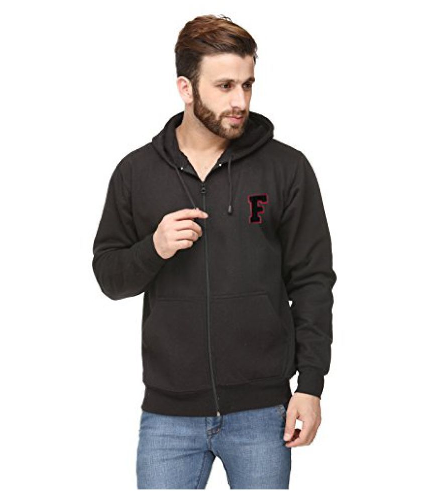 Black Cotton Comfort Styled Hooded Sweatshirt