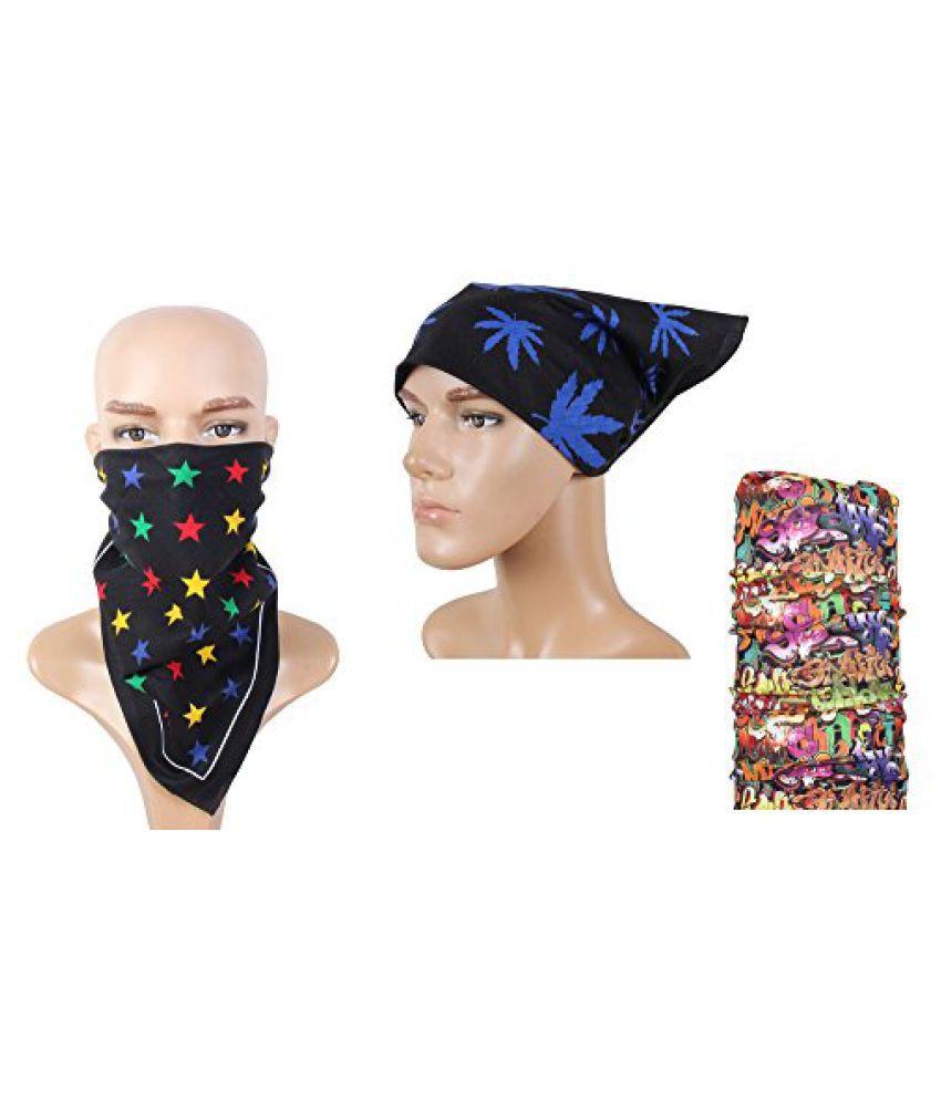 Black Desinger Multi Use Headwrap Combo Bandana