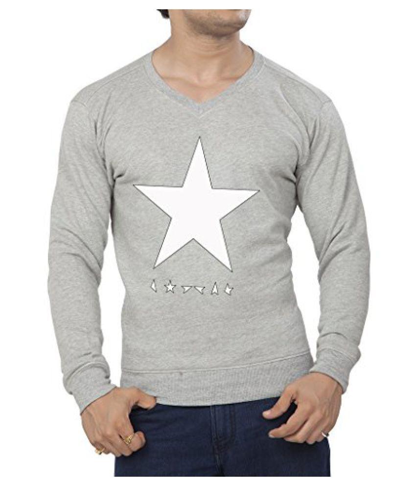 Clifton Mens Printed Cotton Sweat Shirt V-Neck-GreyMelange-White Star