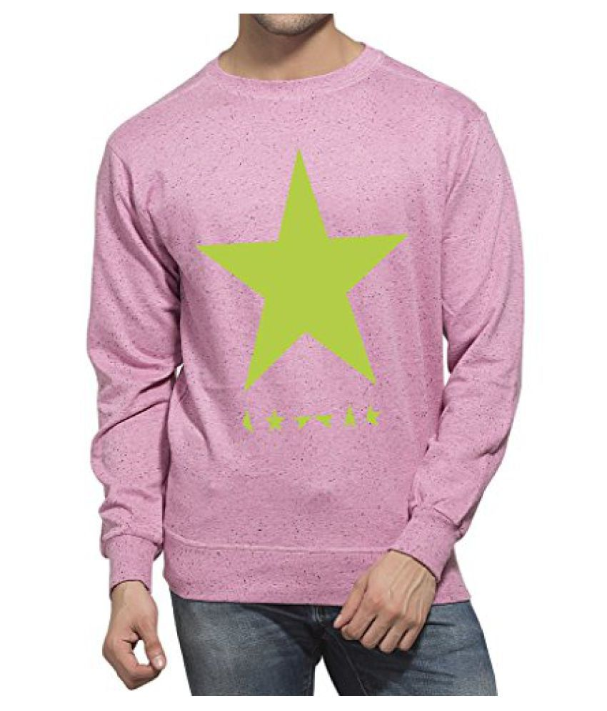 Clifton Mens Printed Neppy Melange Sweat Shirt R-Neck-Cool Pink-Green Star