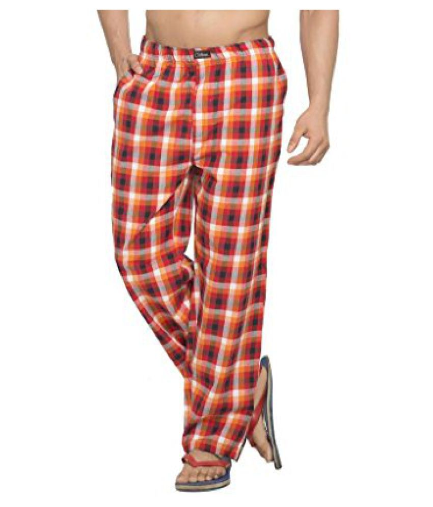 Clifton Mens Woven Pyjama - Orange Red Checks