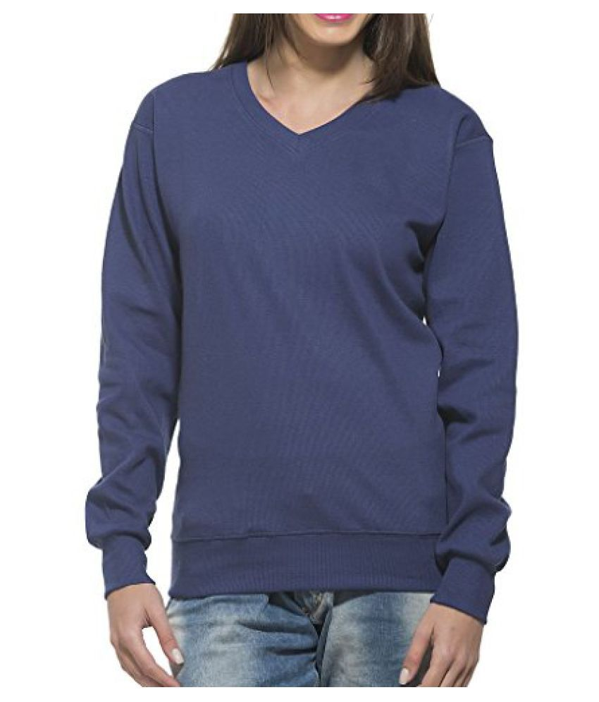 Clifton Women's Ribbed Sweat Shirt - V-Neck - Blue