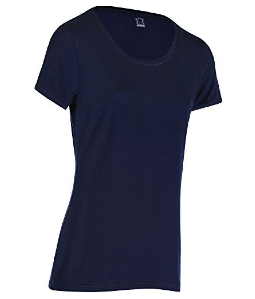DOMYOS ACTIVE WOMENS SHORT-SLEEVED REGULAR-FIT FITNESS T-SHIRT - NAVY BLUE