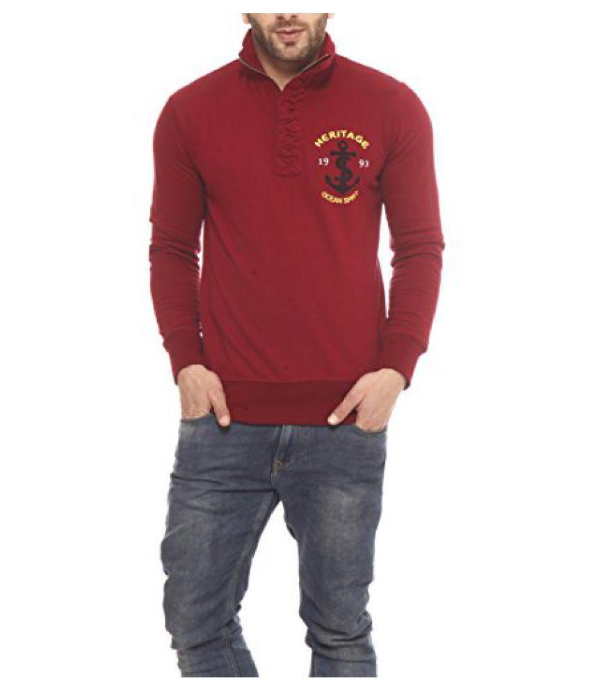 Gritstones Maroon Printed Sweatshirt-GSSSMRNHER