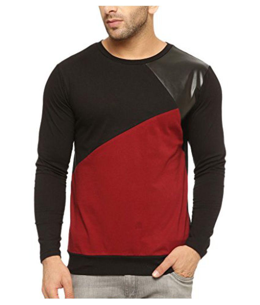 Gritstones Round Neck Full Sleeve T Shirt GSFSTSHT1303MRNBLK