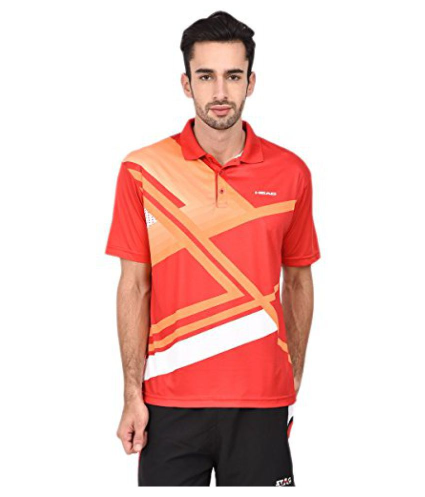 Head HCD-243 Polo T Shirt Red/Orange/White Size - M