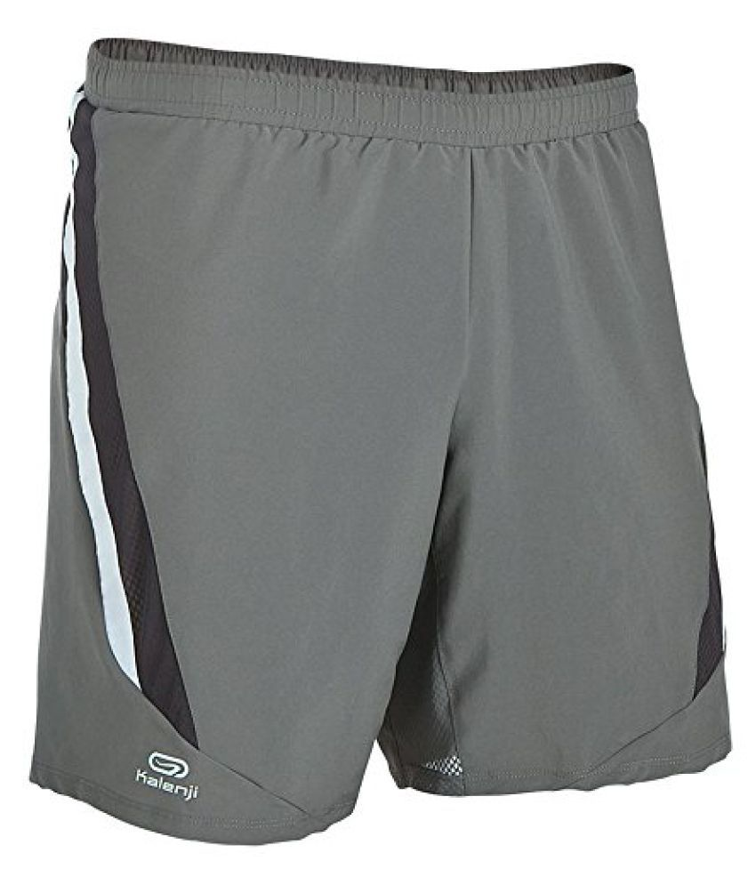 KALENJI ELIOPLAY MENS RUNNING SHORTS - GREY WHITE