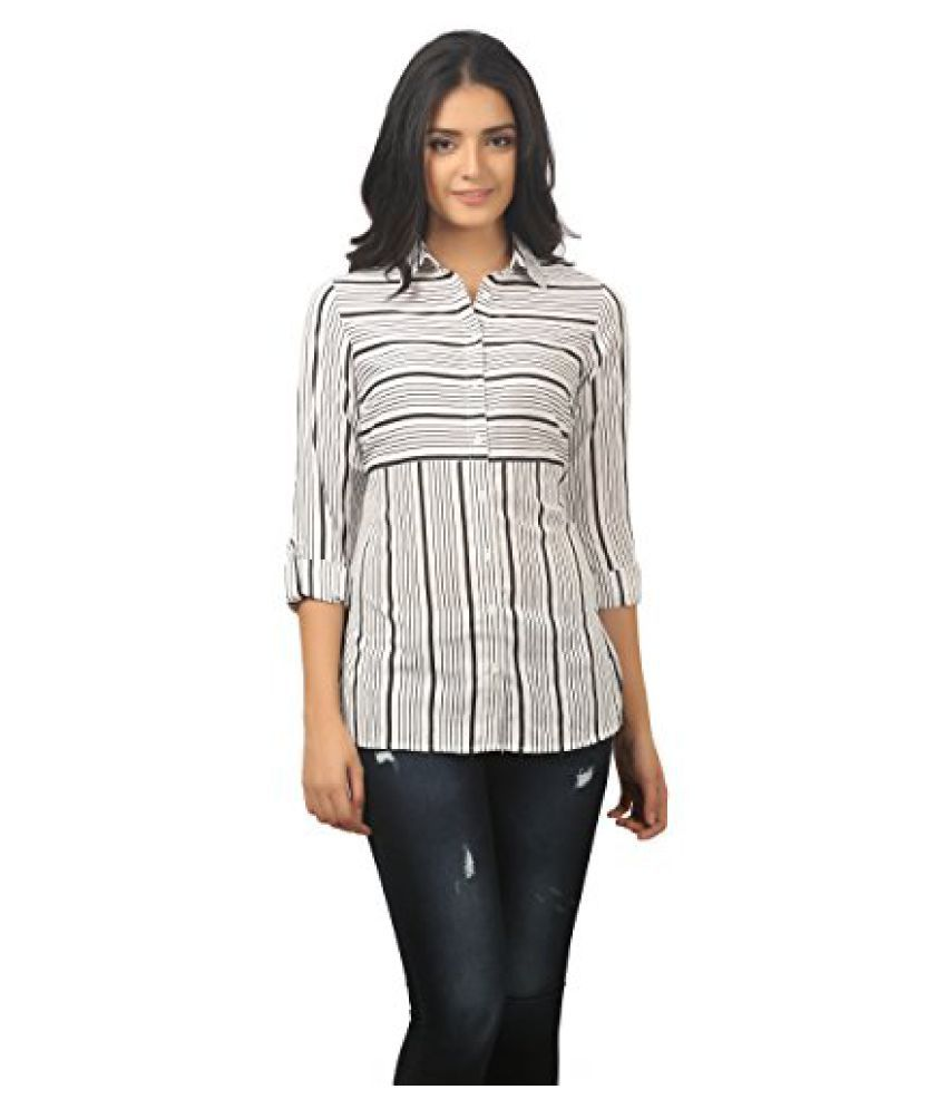 MansiCollections Women's Striped Casual White Shirt