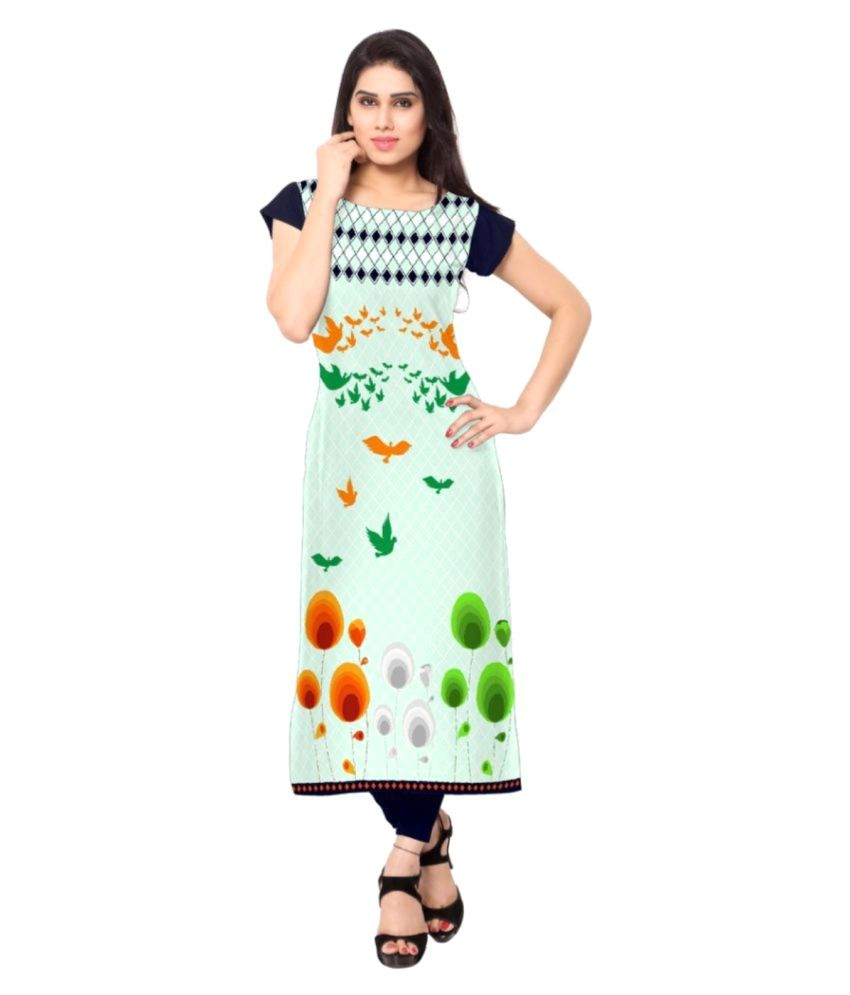 Meera Creations Multicoloured Crepe Straight Kurti